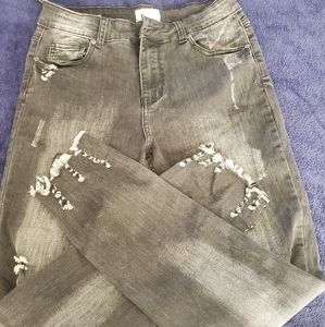 Black faded jeans
